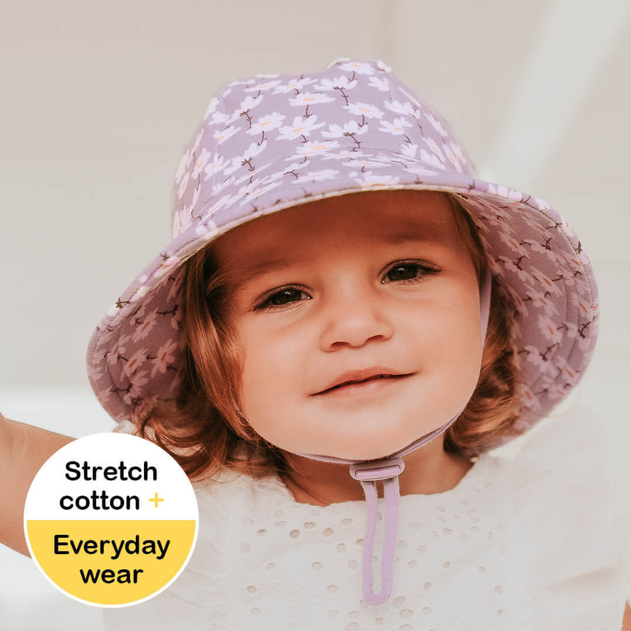 Bedhead Toddler Bucket Hat - Cosmos at Baby Barn Discounts A bucket hat with a dainty smattering of cosmo flowers on a lilac background is bound to suit any wardrobe with shades of white, denim, pink and purple.