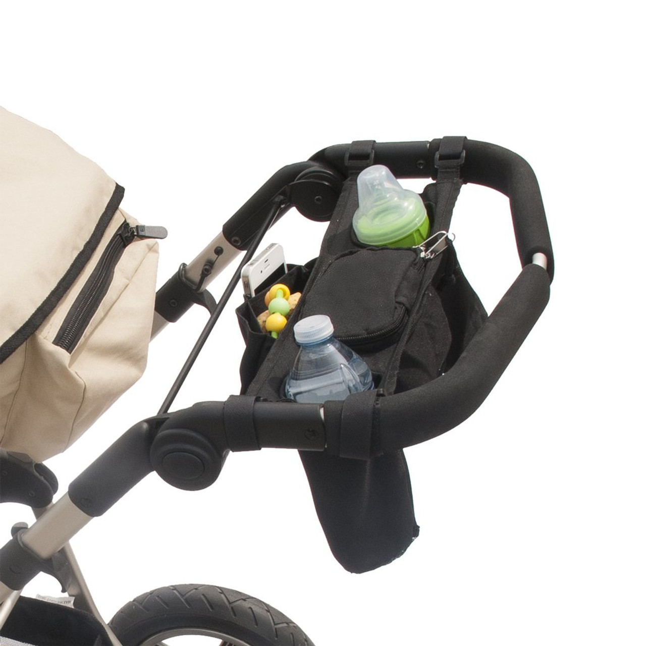 Jolly Jumper Stroller Caddy accessory that attaches to handles and most bars