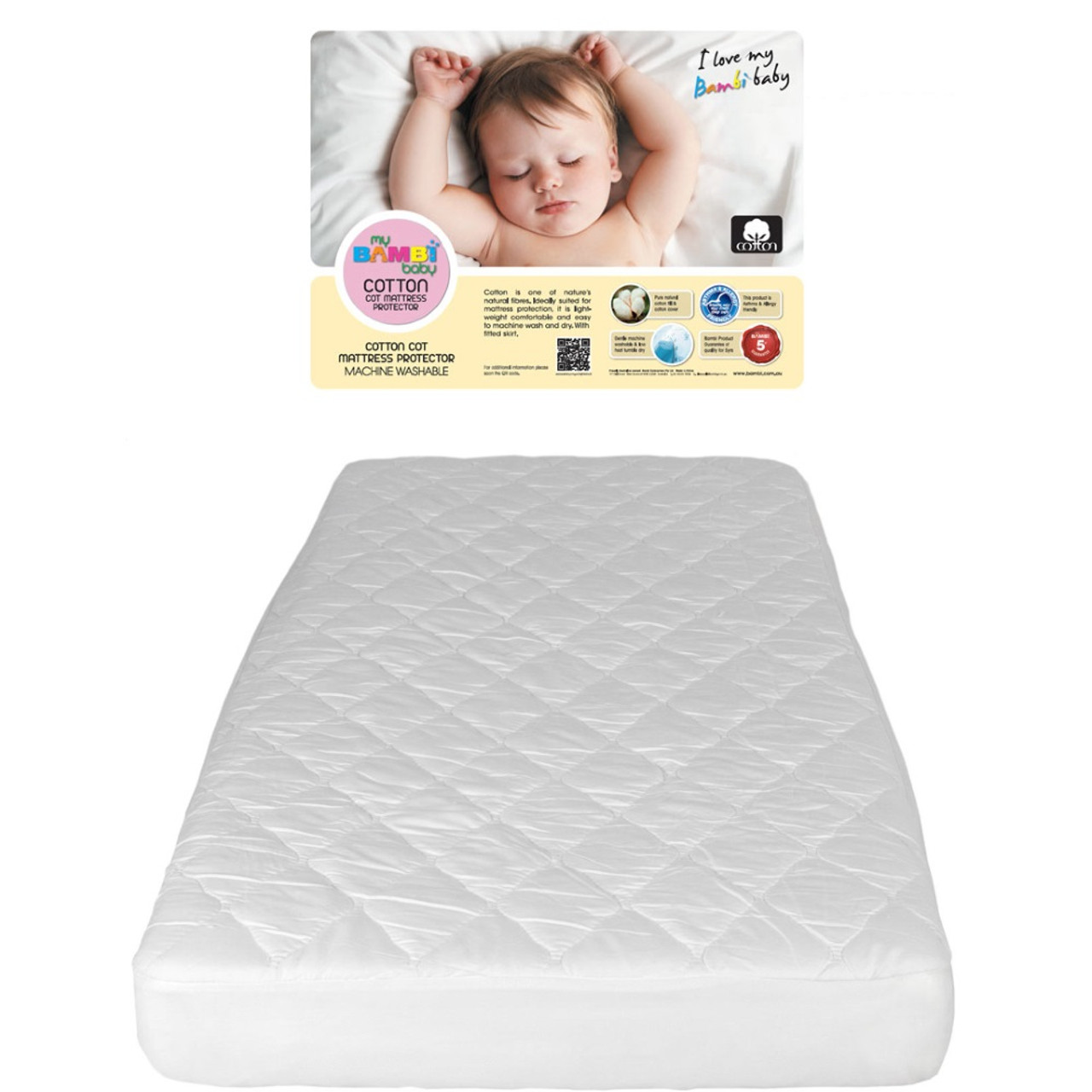 Bambi Cotton Cot Mattress Protector