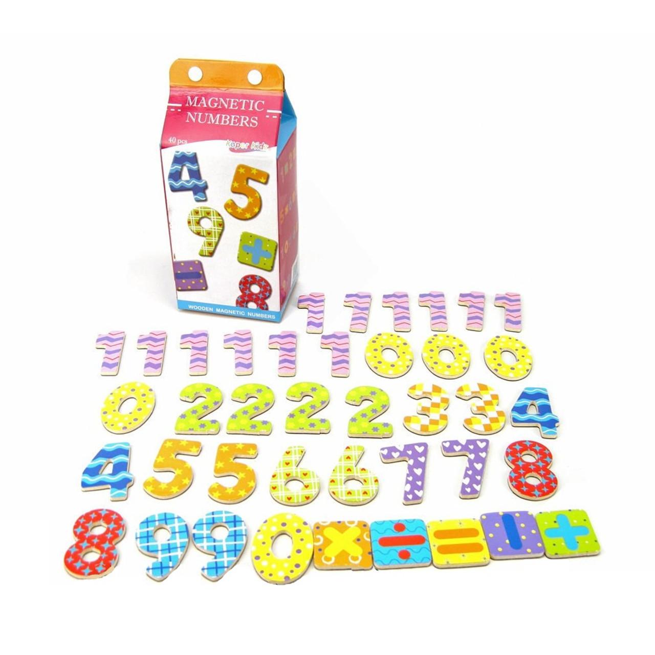 Kaper Kidz Milk Carton Wooden Magnetic Numbers 40 Pieces