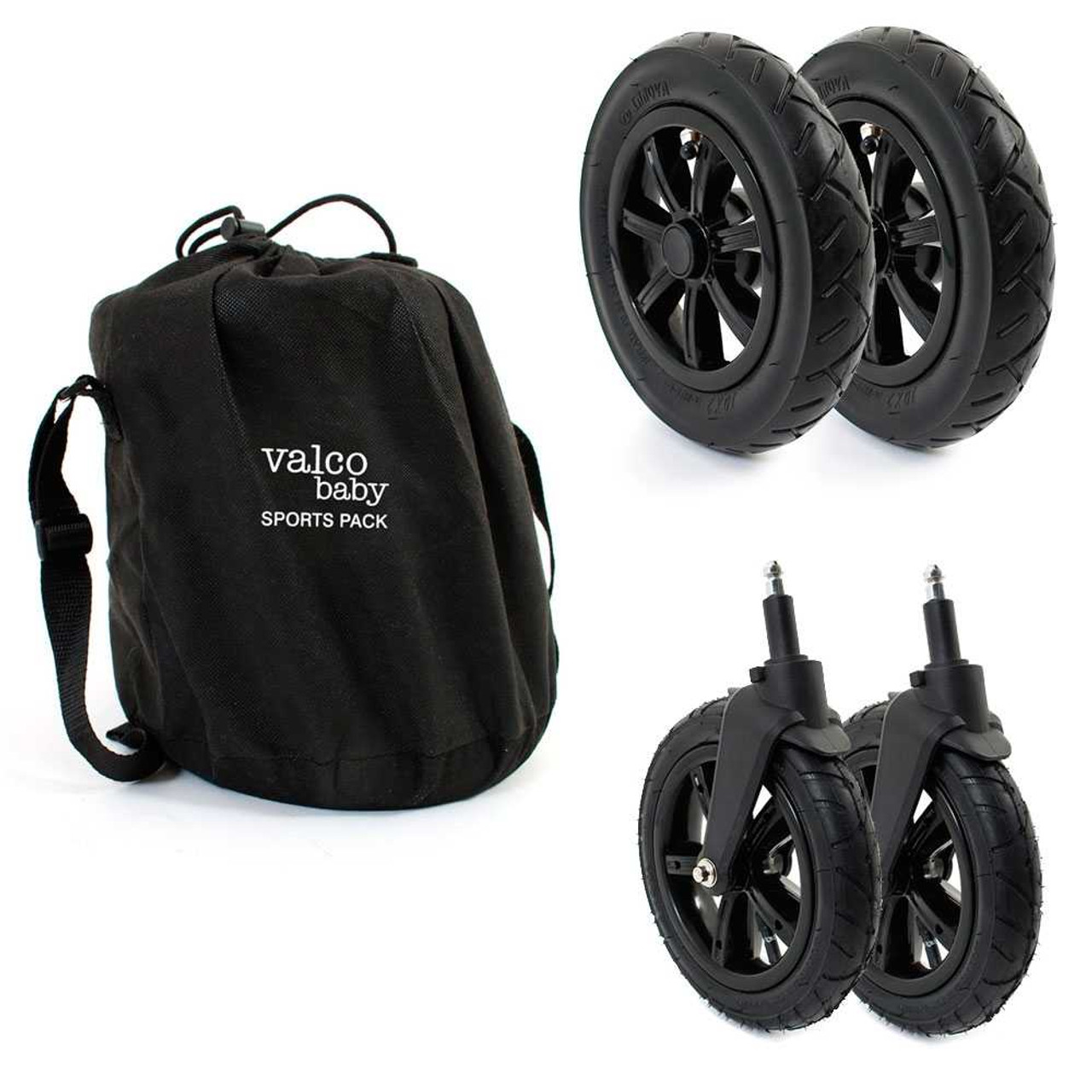 Valco Sports Pack Air Filled Wheels for Snap 4 features pump up air tyres for a smoother ride and better suspension under heavier load, as well as a dedicated storage bag with convenient carry strap for easy transport and storage.