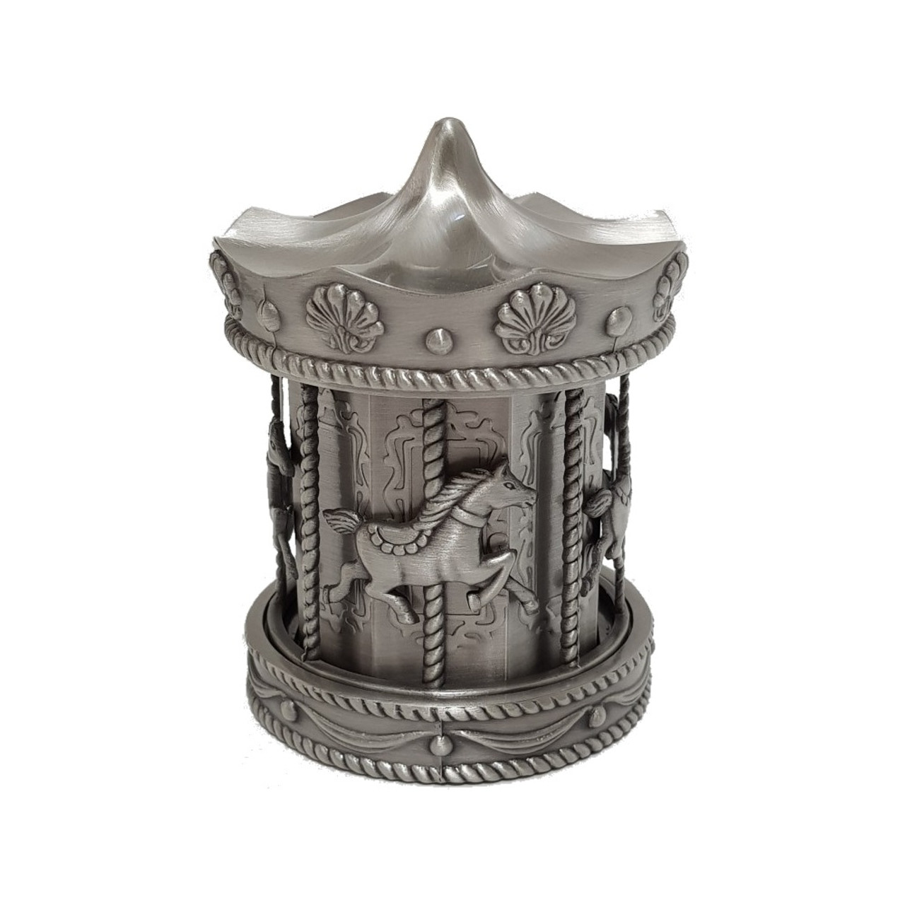 Carousel Money Bank Pewter Finish