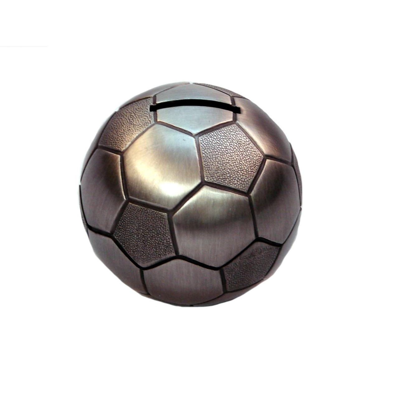 Soccer Ball Money Box Pewter Finish
