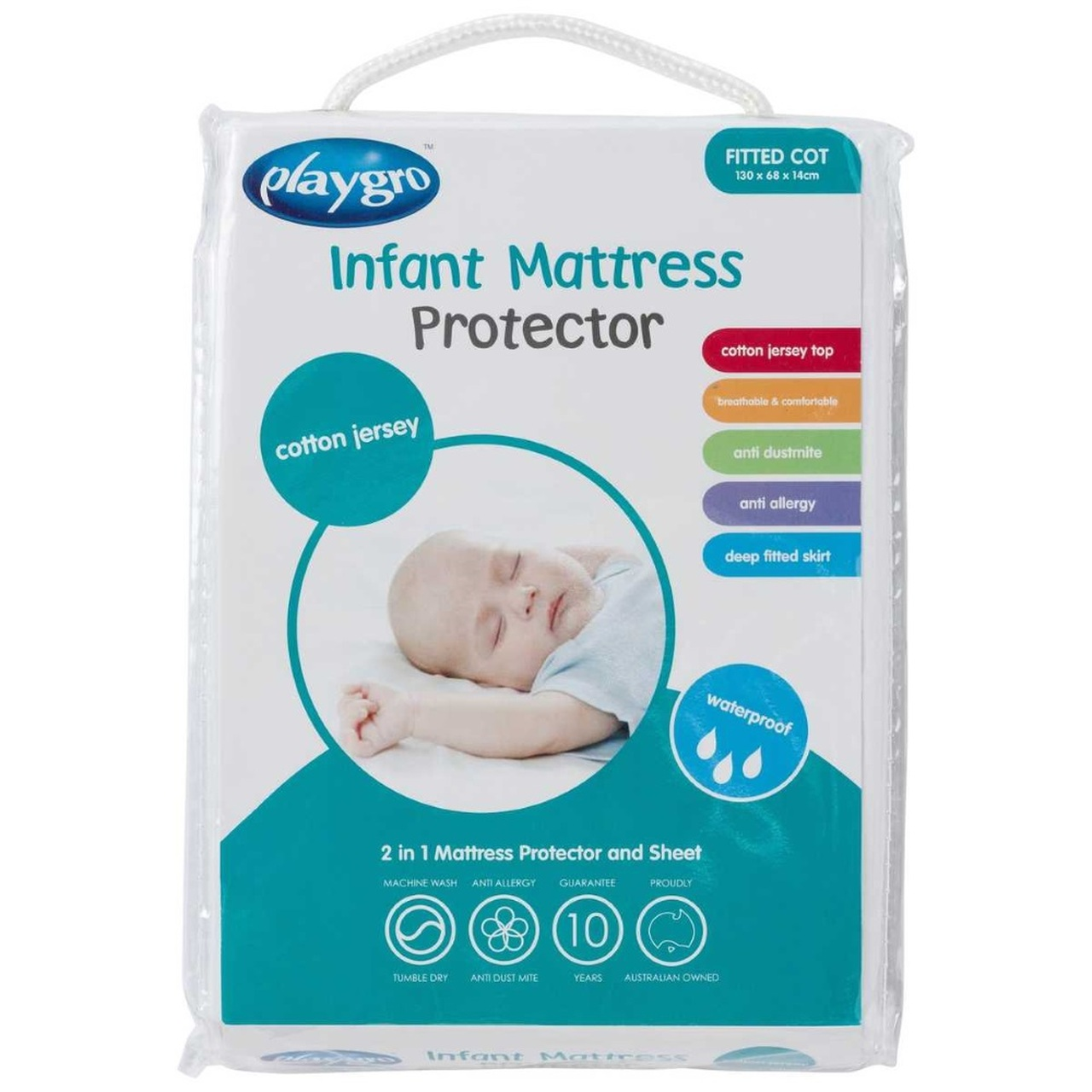 Playgro Cotton Jersey Fitted Cot Mattress Protector