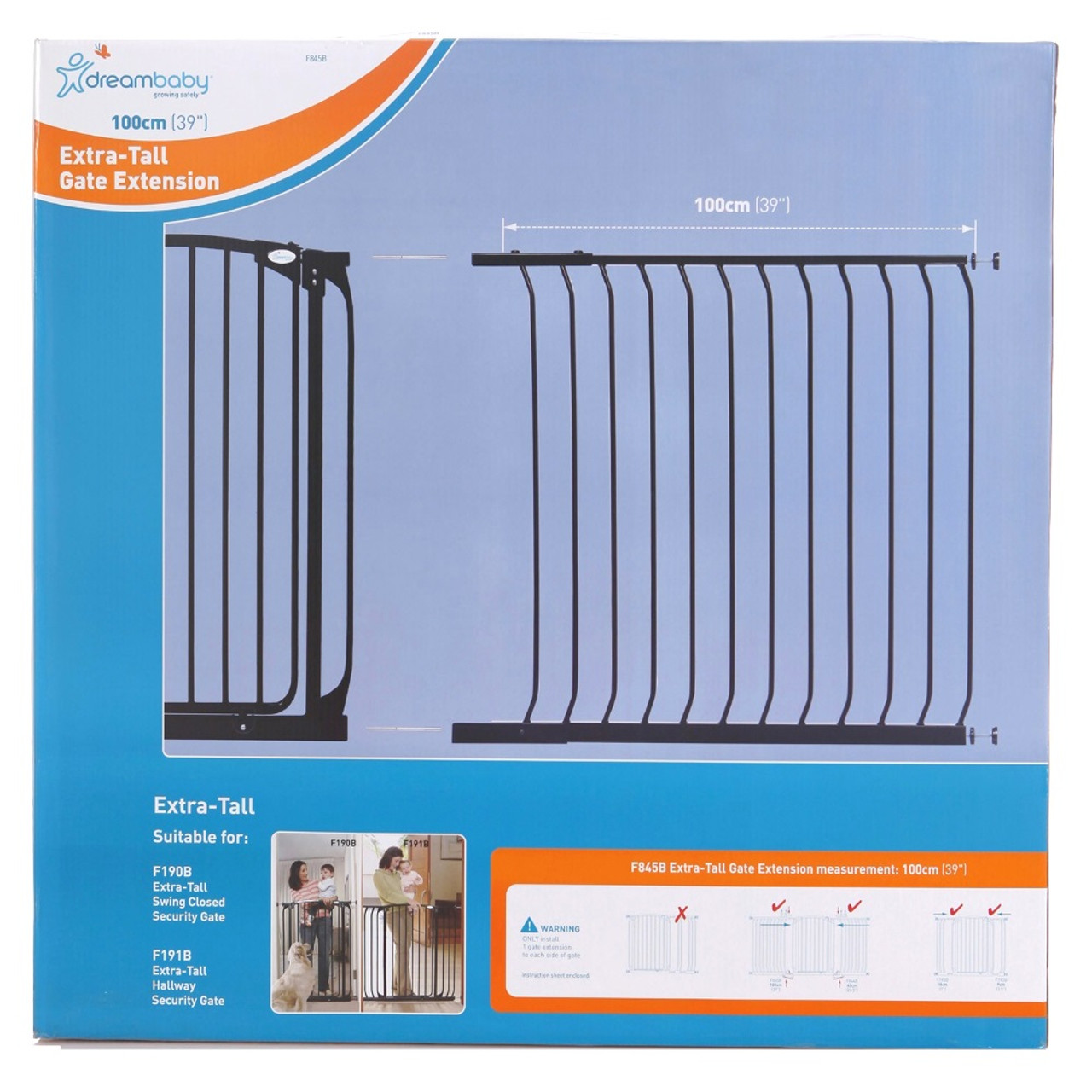 Dreambaby Chelsea 100cm Tall Gate Extension at Baby Barn Discounts Dreambaby Chelsea Tall Gates are 1m high and provide greater security and peace of mind.
