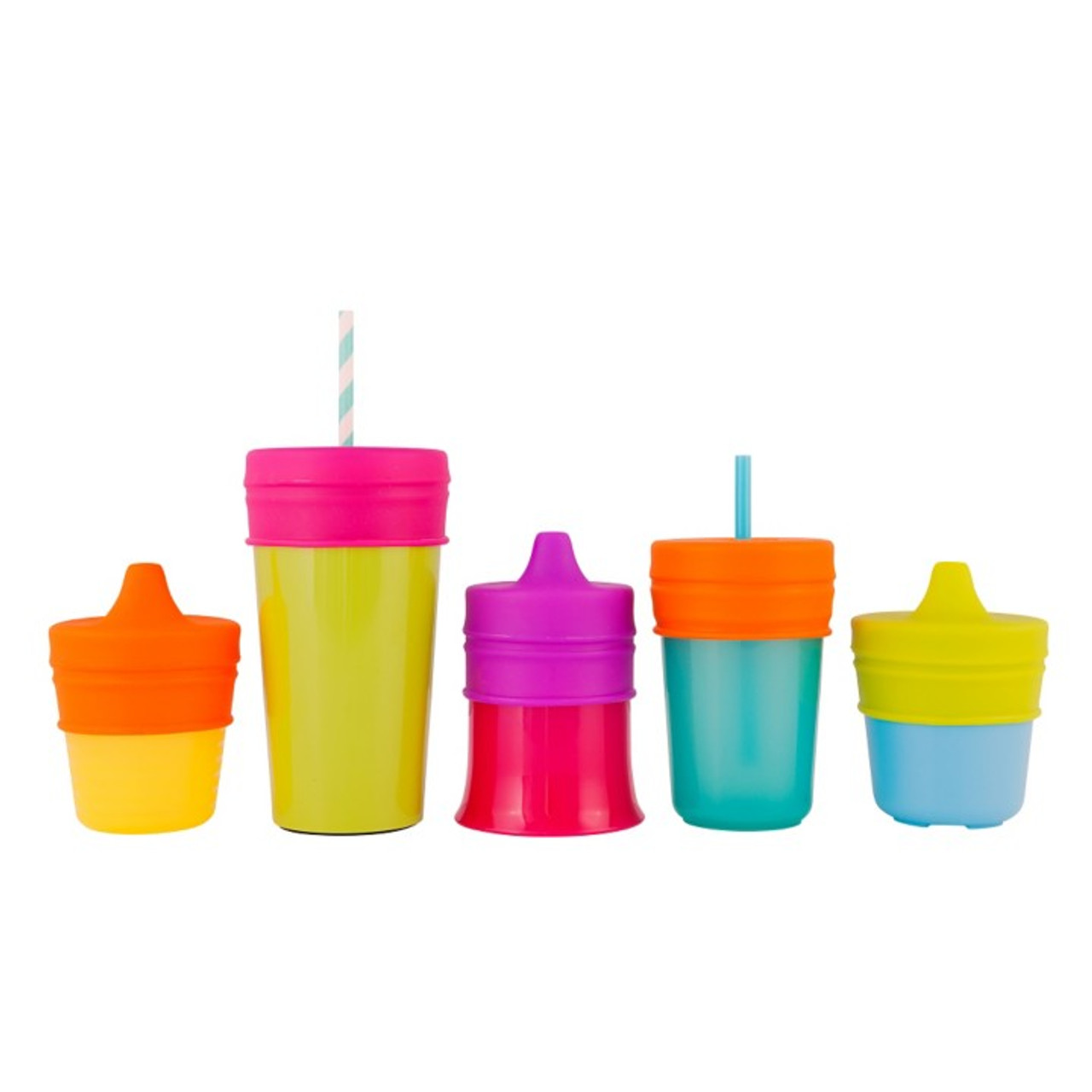 Boon Snug Spout with Cup (Universal Silicone Sippy Lid) - Pink/Purple/Blue