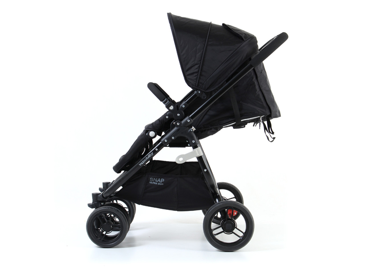 Valco Baby Snap Ultra Duo Coal Black - Twin, side by side pram with removable reversible seats giving options of children facing forward or parent facing.