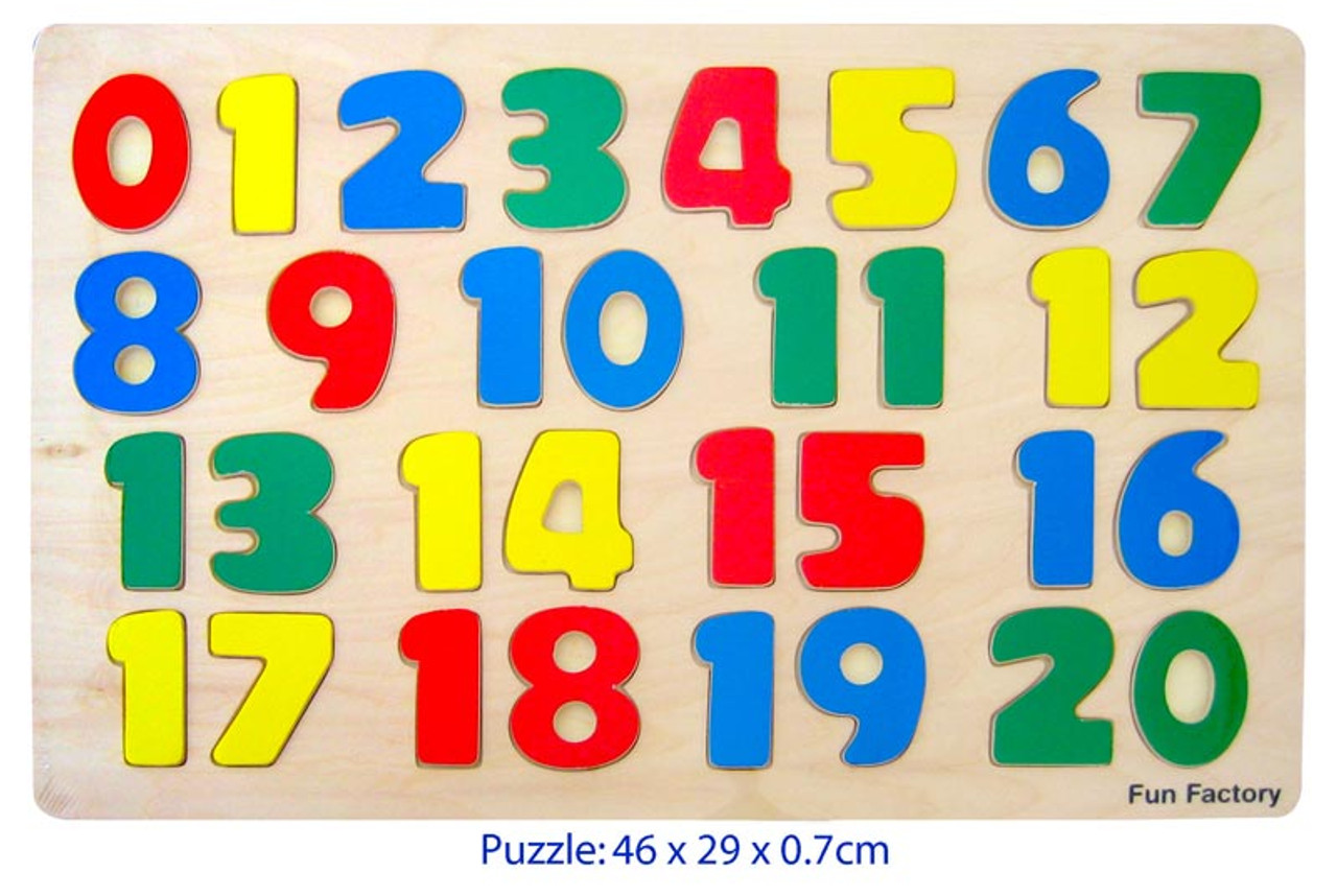 Fun Factory Large Raised Wooden Numbers 1-20 Puzzle