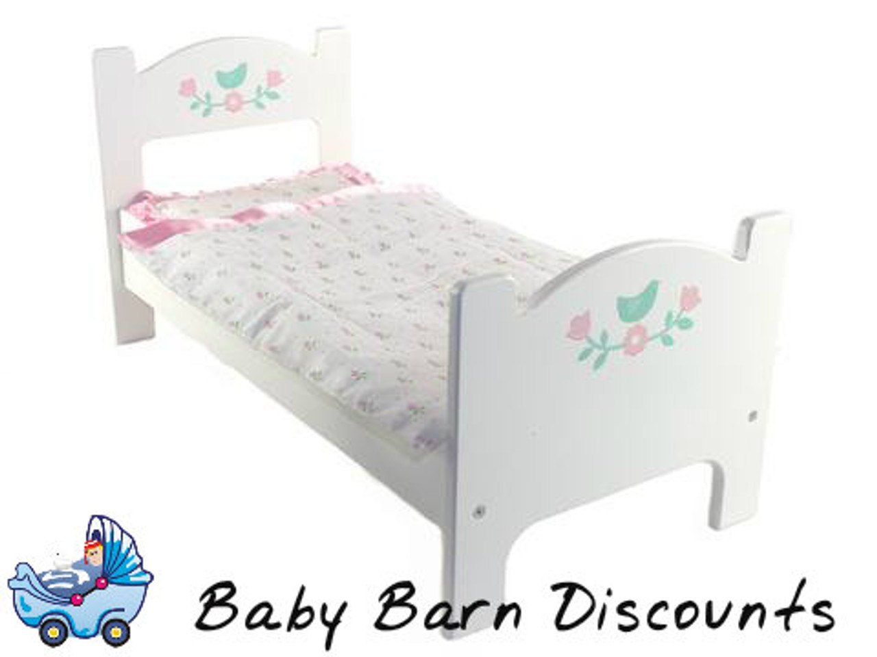 Mentari Dolly's Wooden Bed in White (Include Bedding)