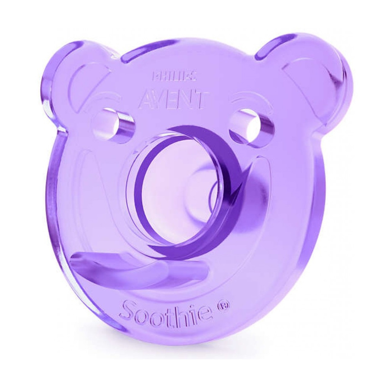 AVENT Orthodontic Bear Shape Soothie Twin Pack for 3 Months + Pink/ Purple