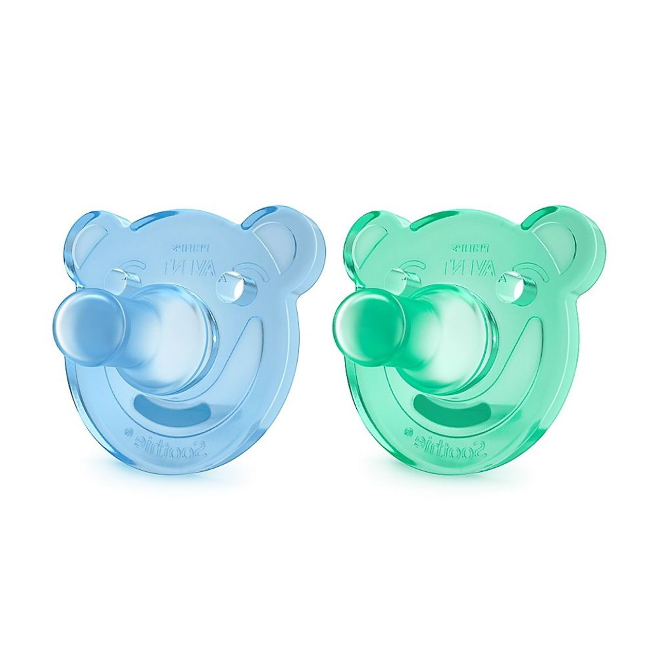 Avent Orthodontic Bear Soothie 3 months+ Blue Green 2 Pack