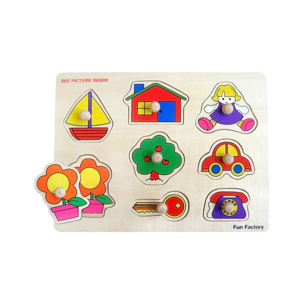 Fun Factory House/ Boat Wooden Puzzle with Knobs