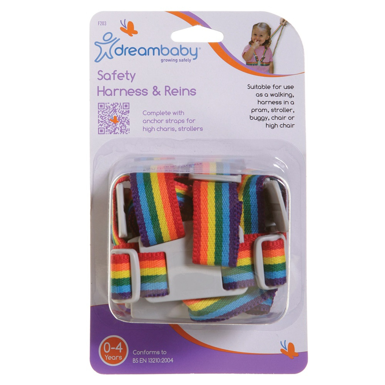 Dreambaby Safety Harness and Reins - Rainbow