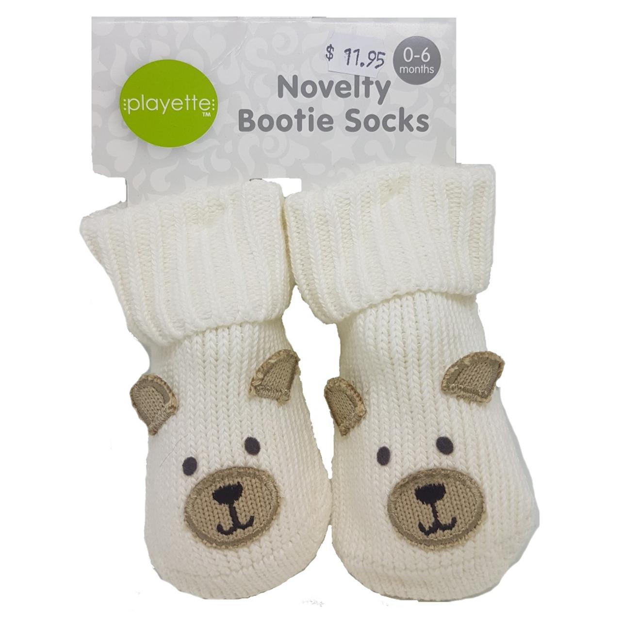 Playette Newborn Booties Socks White Bear