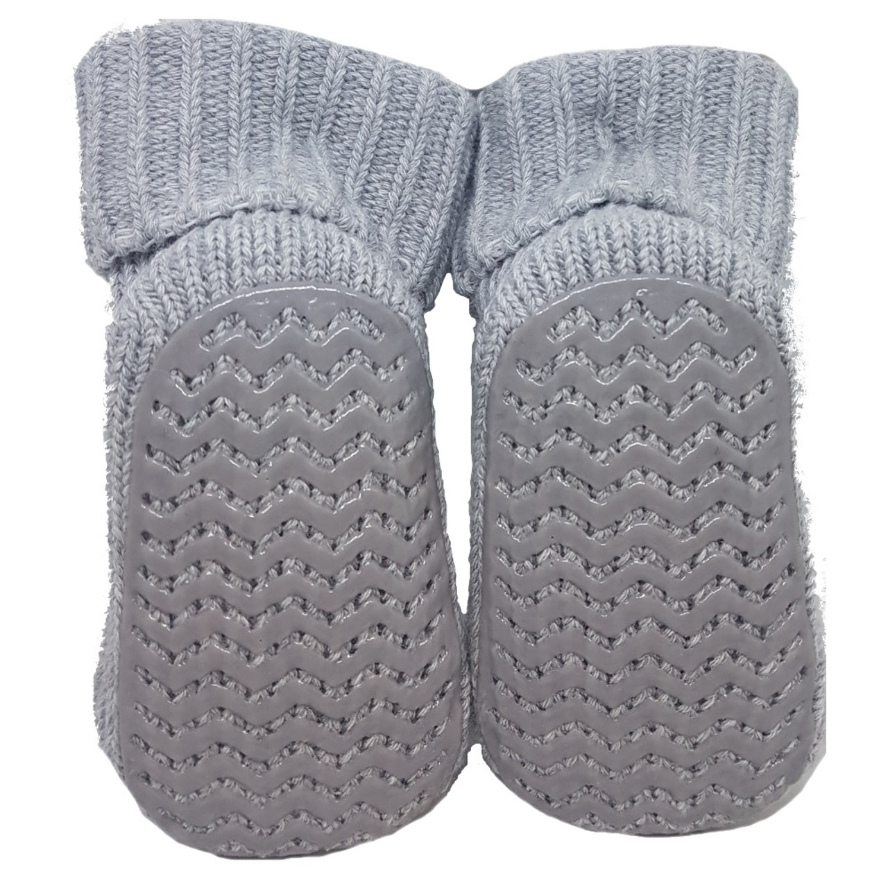 Playette Newborn Booties Socks Grey Puppy
