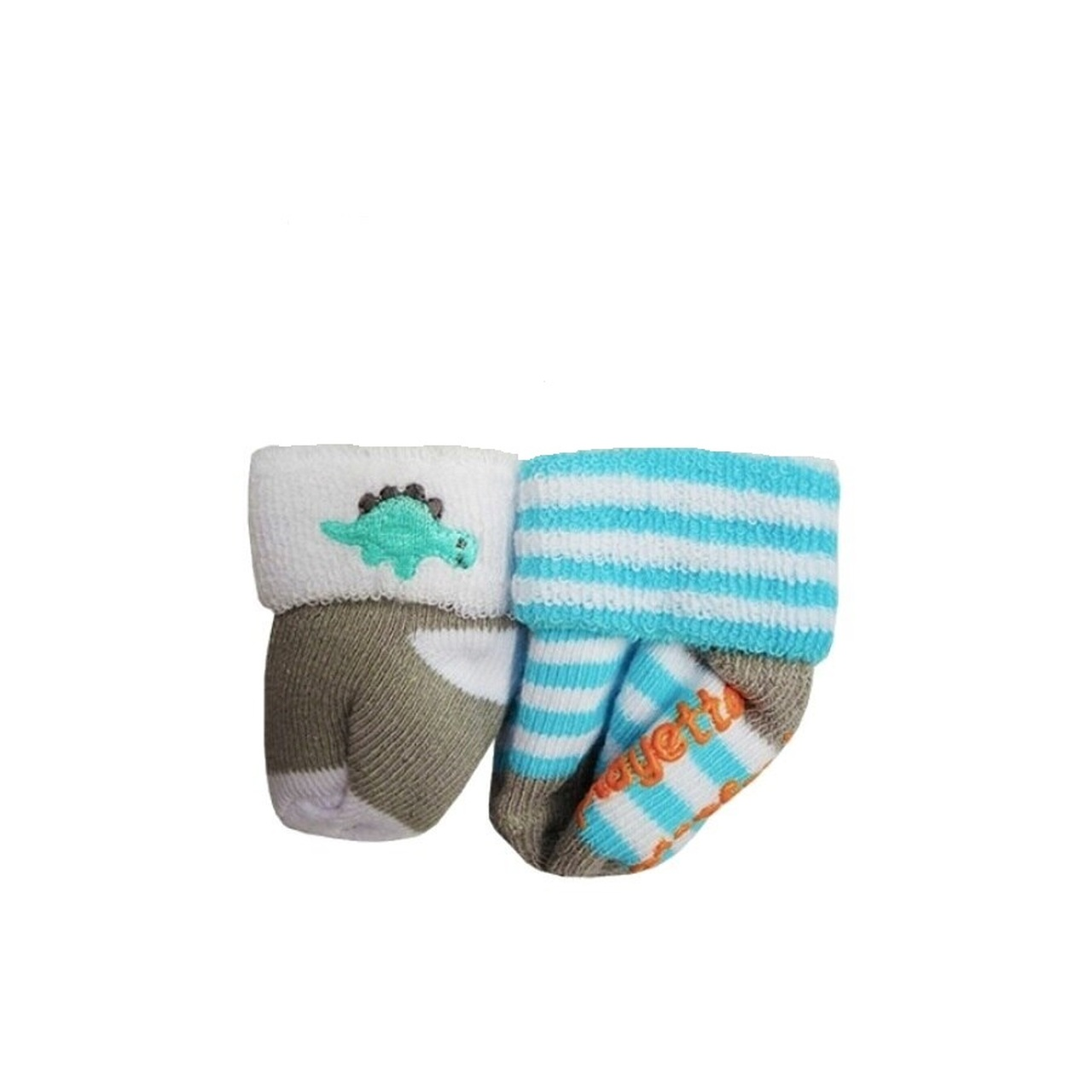 Playette Newborn Bootie Socks 0-3 Months 2 pk - Blue Dino