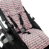 Outlook 100% Cotton Pram Liner - Charcoal/ Pink Chevron