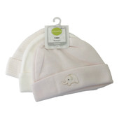 Playette Essential Newborn Knitted Beanies 3pk Pink at Baby Barn Discounts Playette 3 pack newborn beanie has cute embroidered items on the solid prints, white & stripe version.