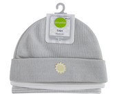 Playette Essential Newborn Knitted Beanies 3pk Grey at Baby Barn Dscounts Playette 3 pack newborn beanie has cute embroidered items on the solid prints, white & stripe version.