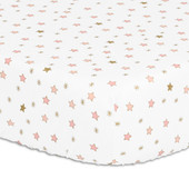 Peanutshell Large Cot Fitted Sheet - Light Coral Stars