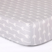 Peanutshell Large Cot Fitted Sheet - Grey Arrows