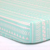 Peanutshell Large Cot Fitted Sheet - Mint Tribal