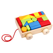 Tooky Toy Wooden Pull Along Mini Block and Roll Cart