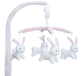 Living Textiles Musical Cot Mobile at Baby Barn Discounts Little ones will love watching the sweet knitted animals dance around to the lullaby With a wind up operation, no batteries are required.