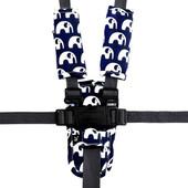 Outlook Pram Harness Cover Set - BLUE ELEPHANTS