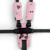 Outlook Pram Harness Cover Set - PINK BOWS