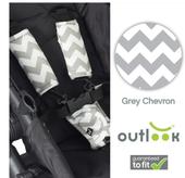 Outlook Pram Harness Cover Set - GREY CHEVRON