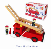 Fun Factory Wooden Fire Engine with Rotating Ladder and Firemen