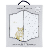 The Living Textiles 2 Pack Cotton Jersey Cradle Fitted Sheet