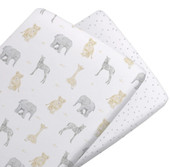 The Living Textiles 2 Pack Cotton Jersey Cradle Fitted Sheet - SAVANNA BABIES