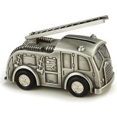 Fire Engine Money Box Pewter Finish