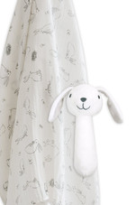 The Little Linen Muslin Wrap & Crinkle Toy - Ivory Bunny