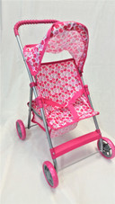 Pink Doll Stroller with Apple Print