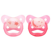 Dr Brown's Prevent Glow in the Dark Soother 2pk 12m+ - PINK