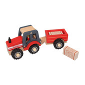 Wooden Toy Red Tractor and Trailer