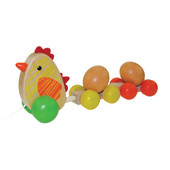 Wooden Pullalong Toy - Hen With Rolling Eggs