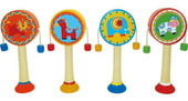 Wooden Hand Held Rattle Drums - Lion / Horse / Elephant / Cow