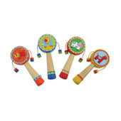 Wooden Hand Held Rattle Drum - Lion / Elephant / Cow / Horse