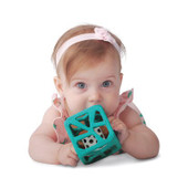 Malarkey Chew Cube features soft, textured teething edges for sensitive gums.