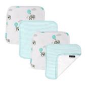 Living Textiles Cotton Towelling Jersey 4pk Face Wash Cloths - ELEPHANT