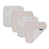 Living Textiles Cotton Towelling Jersey 4pk Face Wash Cloths - SWAN Add a bit if luxury to baby's day with the 4pk of washcloths from Living Textiles. These deluxe  washcloths are perfect for everyday use during bath time or on the go.