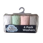 Big Softies 4 pack Face Washers - PASTEL GIRL