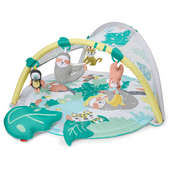 Skip Hop Tropical Paradise Activity Gym and Soother  A tropical themed activity gym by Skip hop with beautiful lush leaves, cute animals and soothing sounds to engage baby's senses as they play.