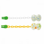Chicco Pacifier Clip Soother Chain 1pk at Baby Barn Discounts Chicco pacifier clip/ soother chain universally clips on baby's clothing to keep their dummy pacifier neat & tidy and close to bub.