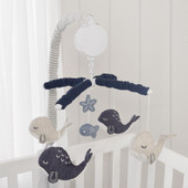Lolli Living Musical Mobile Set Oceania at Baby Barn Discounts gorgeous musical cot mobile from Lolli Living features the cutest whales made from linen.