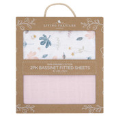 Living Textiles Organic Cotton Muslin Bassinet Fitted Sheets 2pk at Baby Barn Discounts Created from 2-layers of soft & silky 100% organic cotton muslin they are perfect all year round.